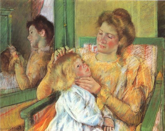 ajCassatt_Mary_Mother_Combing_Child's_Hair_1879