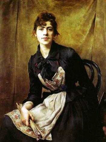 A. Bilinska, Pose moderne et libre, en plein 19eme, dans l'intimité de l'atelier.