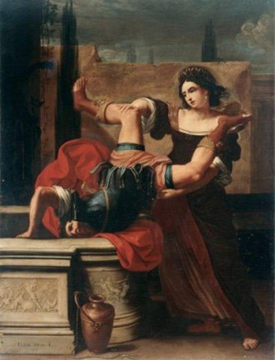 Artemisia Gentilleschi encore qui se présente, jetant allègrement un homme dans un puits!! légende difficile à retrouver...Mais visiblement Artemisia dépouille les archives et bibliothèques pour déceler ces thèmes vengeurs.
