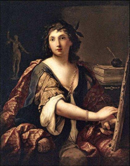 Elsabetta Siriani, 17e siècle, autoportrait en muse, partagée entre ses multiples talents.