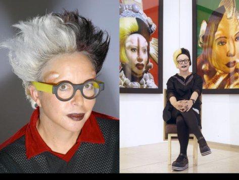 """Orlan, l'une des plus célèbres artistes contemporaines, s'expose comme coeur et support de son oeuvre, interrogeant systématiquement les codes et critères esthétiques relatifs. Ici, posant devant ses """"self hybridations"""" ( années 2000)"""