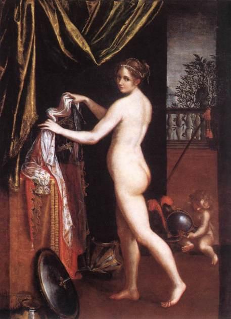 Lavinia Fontana, 16e.Minerve. Sous le prétexte mythologique, une scène d'intimité.
