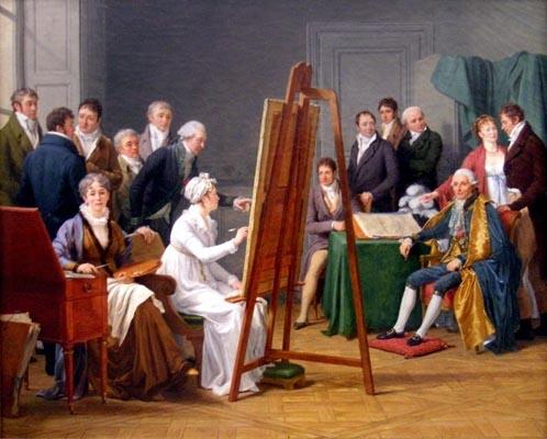 Marie Gabrielle Capet, scène d'atelier, au milieu de confrères, en toute égalité semble t-il...