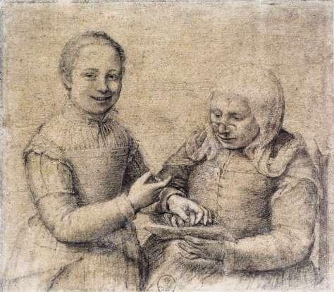dessins de Sofonissba Anguissola..Vieille femme apprenant à lire dans la joie.
