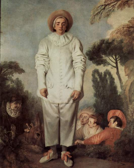 Le Gille, ou Pierrot J.A. Watteau..Valeurs lunaires de douceur en opposition aux valeurs de brillance.Attitude pataude, regard direct, corps droit...Autant de contrepoints des figures dominantes des oeuvres de JAW