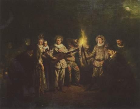 Watteau, les comediens italiens. Lumière nocturne et visages naturels.