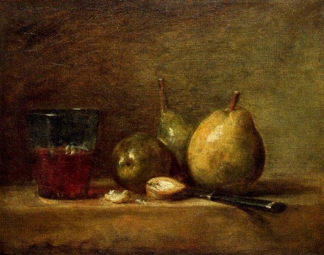 Chardin, nature morte aux poires. La variété des textures et donc des effets de lumière, prouve la valeur unique de chaque surface, de chaque matière, au regard de la lumière.