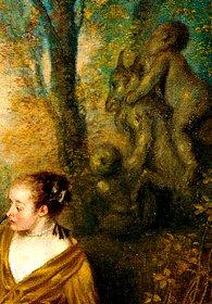 """Watteau, la famille, Détail...Stupéfiant détail, dans ce tableau intitulé """"la famille"""", que celui d'un eros chevauchant un bouc...."""