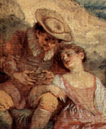 Watteau, le dénicheur, détail, ici de même, plus sage..