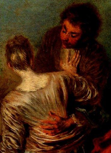 Watteau, le faux pas...Outre la face, les mains sont particulièrement noueuses, tellesdes griffes ; on les retrouve toujours associées au même type de visage.