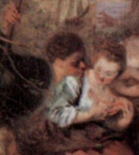 """Watteau, de nouveau, un double dans """"les bergers"""" de la scène des """"plaisirs partagés"""".."""