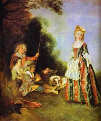 Pour Watteau, les jeux des enfants sont sincères. Leurs postures et leurs vêtements sont naturels...