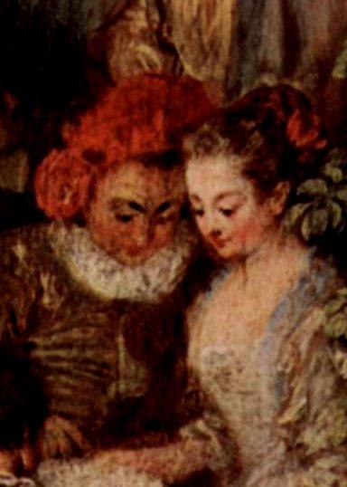 Watteau, l'arlequin, détail..Attitude plus sage, mais le même visage de nouveau..