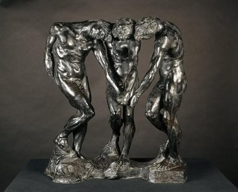 les 3 ombres qui dominent la porte de l'enfer ; tout un programme ici exposé, qui plus est dans une version tantôt marbre, tantôt bronze, qui explorent les varaitions subtiles des jeux d'ombres propres, de reflets, d'ombres portées..
