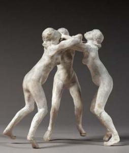 Rodin, 3 faunesses, ici un assemblage par répétition et rotation, comme pour les 3 ombres, inversant le principe de la ronde-bosse, ce sont ici les statues qui tournent...