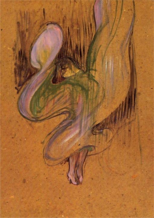 Loïe Füller, par Lautrec, de façon stupéfiante, Lautrec explore, comme Rodin, la trace, l'inachevé, le mouvement, l'expansion, la matière brute ..la lumière.